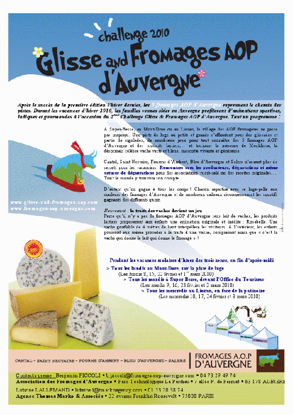 Glisse and Fromages AOP d'Auvergne