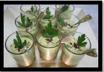 Verrines de petits pois frais au sel de château