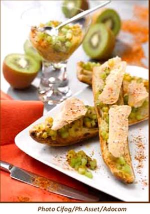 Tartine de foie gras et sa compotée de kiwis au piment d'espelette