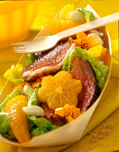Coupelle fraîcheur salade – orange – Magret