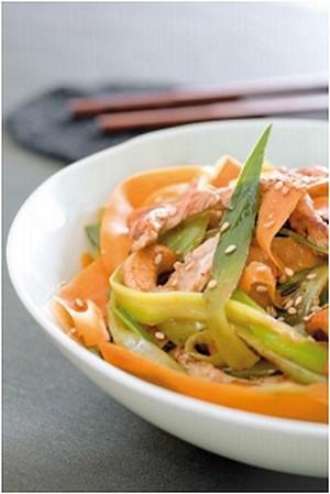 Wok de légumes d'hiver, poulet grillé et noix de cajou