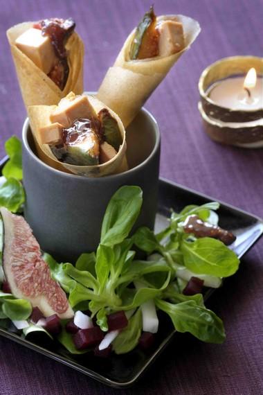 Cornets croustillants au foie gras et confiture de figues