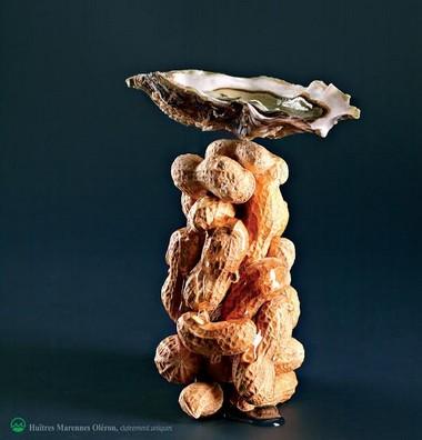 Huîtres Marennes Oléron cacahuètes, miel et soja