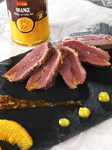 Magret de canard fourré à l'orange