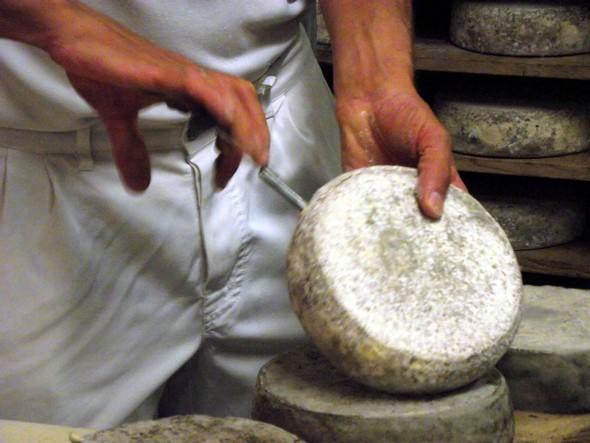 Fruitière du Semnoz - Carottage d'un fromage ©G.Conreur