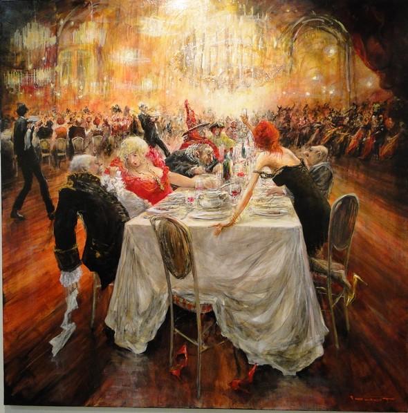 Diner de gala à la sous-préfecture. Peinture à l'huile de Marcel Pajot, exposée dans le cadre du SILG ©thierry Bourgeon/laradioddugout.fr