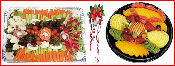 13€ le plateau de légumes apéro pour 10 personnes et 18€ le plateau de fruits pour 10 personnes.