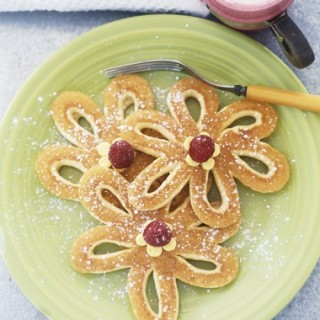 Pancake flowers with raspberry centres