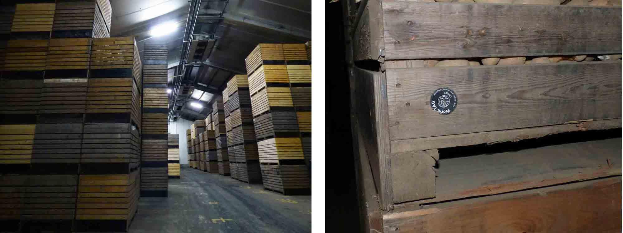 Des palox superposés contenant des tonnes de pommes de terre mais sur chaque palox une puce permettant une traçabilité sans faille