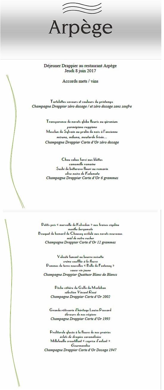 menu arpege