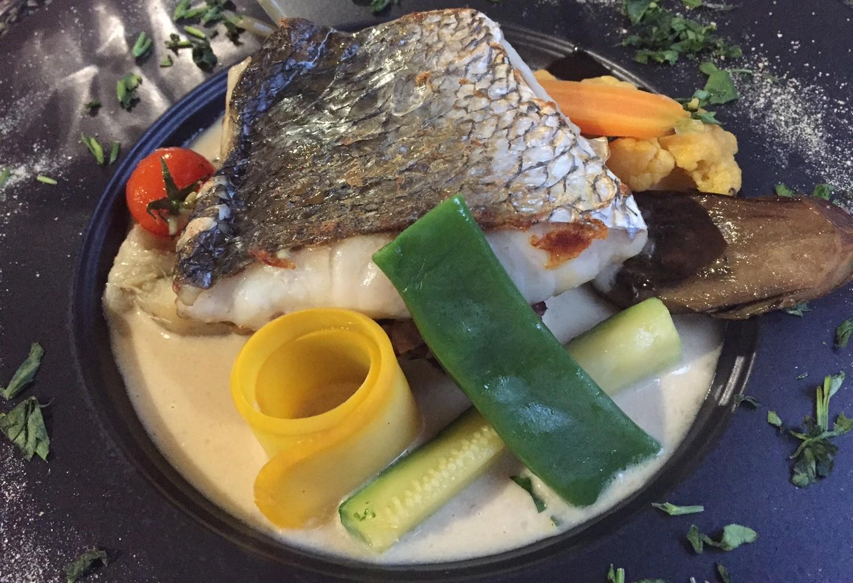 Maigre sur risotto et légumes aromatisés
