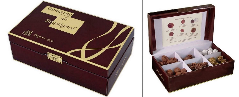 coffret cadeau idéal pour découvrir la gamme: Arlequines, Noisettes au chocolat, Pruneiges, Grain de Noix, Caféocao, CaOchoco